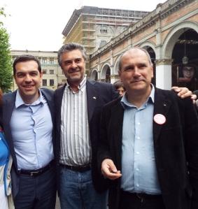 Alexis Tsipras con Ezio Locatelli - segretario Torino PRC e Paolo Ferrero segretario nazionale PRC